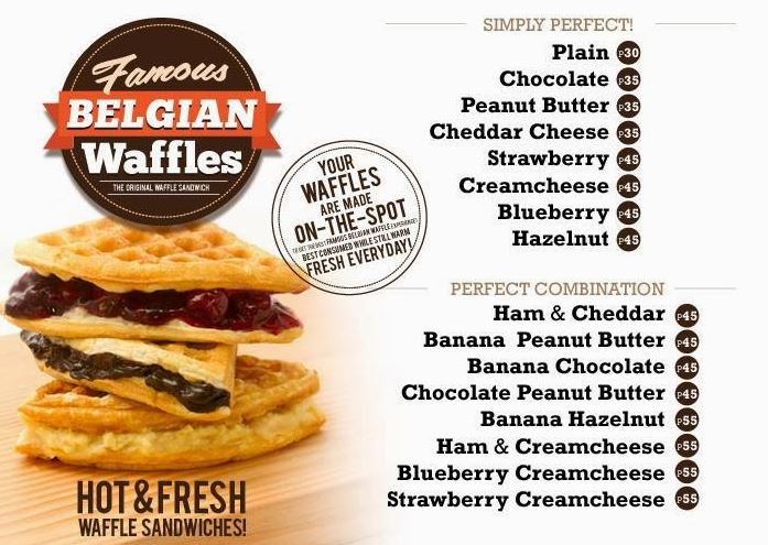 Famous Belgian Wafflesのメニュー