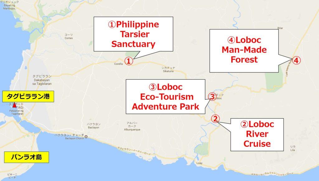ボホール観光地巡り地図