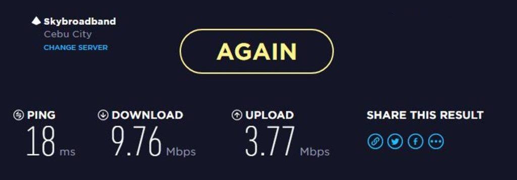 東横INNセブ WiFi速度 有線