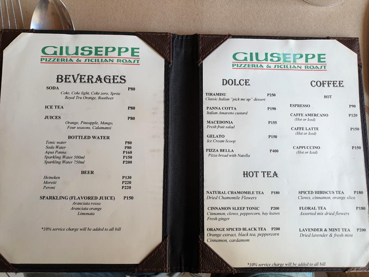 ジュセフィ(GIUSEPPE - Pizzeria & Sicilian Roast)マクタン島店 メニュー